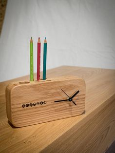 Wood Table Clock / Red Oak Table Clock / Office Table Clock /