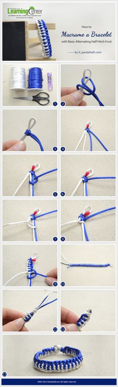 Jewelry Making Tutorial-Macrame a Bracelet with Basic Alternating Half Hitch Kno. - Jewelry Making Tutorial-Macrame a Bracelet with Basic Alternating Half Hitch Knot Bracelet Crafts, Jewelry Crafts, Handmade Jewelry, Jewelry Ideas, Macrame Tutorial, Bracelet Tutorial, Diy Friendship Bracelets Tutorial, Macrame Knots, Micro Macrame