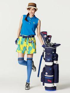 ❤ Women Golf, Ladies Golf, Thigh High Socks, Thigh Highs, Golf Fashion, Fashion Show, Golf Style, Golf Wear, Modest Fashion