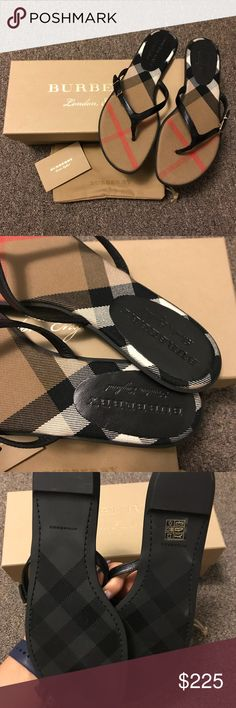 Burberry Sandals AUTHENTIC Burberry Bridle Housecheck Meadow flip flop in black. I've only tried these on in my room. Brand new and comes with box, dust bag and care card! Runs true to size. No trades! Bought directly from Burberry.com a couple of months ago! Burberry Shoes Sandals