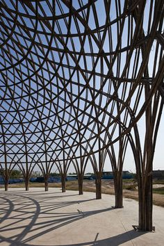 Diamond Island Community Hall in Vietnam by Vo Trong Nghia | So far two of the 24-metre-wide domes have their structural framework in place, creating a woven lattice made up of clusters of bamboo stalks.