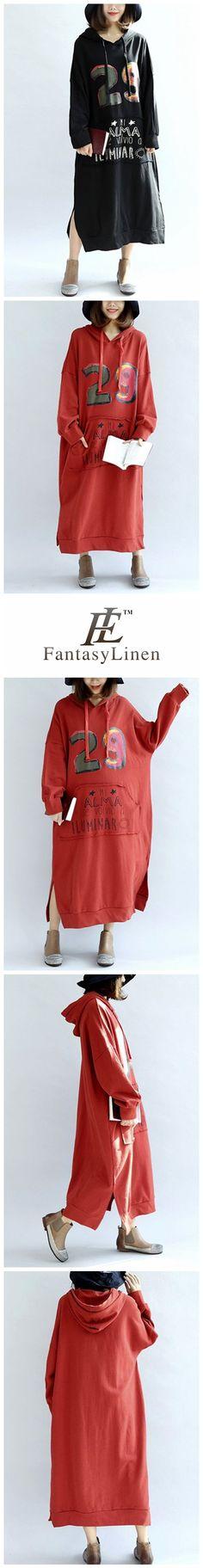 Casual Cotton Loose Plus Size Long Thick Fleece Hoodie Women Dress  Q7116
