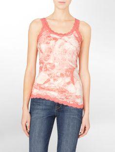 abstract print lace tank top - Sleeveless- Calvin Klein