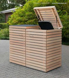 2 x 120 Liter Mülltonnenbox CUBUS – Gasdruckfedern – FSC Hartholz astfrei – Pre… - Modern Garbage Can Storage, Garbage Shed, Storage Bins, Back Gardens, Outdoor Gardens, Backyard Landscaping, Pergola Patio, Pergola Carport, Bin Shed