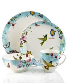 Portmeirion Dinnerware, Botanic Hummingbird 4 Piece Place Setting