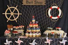 Amazing dessert table at a Nautical boy birthday party!  See more party planning ideas at CatchMyParty.com!