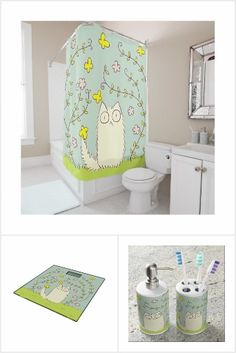 Fluffy Cat and Yellow Butterfly Bathroom Goods 🛁✨  #ShowerCurtain #Scale #BathSet #Mat