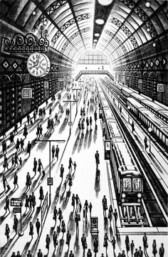 John Duffin City Noir Exhibition Another Arrival (King's Cross St Pancras Station) Etching 61 x 46 cm x 18 inch) Perspective Sketch, One Point Perspective, 1 Point Perspective Drawing, Interior Paint Colors, Interior Painting, Purple Interior, Living Room Paint, Living Rooms, Vanishing Point
