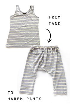 The Thrifty Kid – Acrobat Pants (or How to make Harem Pants from a Tank Top) Sewing For Kids, Baby Sewing, Diy Clothing, Sewing Clothes, Kids Harem Pants, Diy Vetement, Diy Fashion, Origami Fashion, Fashion Details