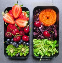 fruity bento today it's composed by a lot of fresh fruits kiwi cherries . Blueberries and strawberries and the other one of composed by salad, red cabbage and carrot rose By Justine Taulin - France (@pastryandtravel) • Instagram photos and videos