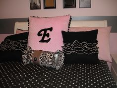 Bolster pillow and Initial Minkee pillow