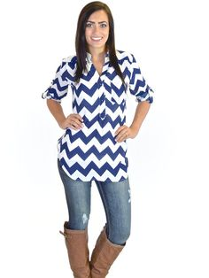 High Expectations Top -  Navy Chevron from Closet Candy Boutique