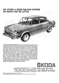 Skoda 1000mb Ad 1967 Classic Auto, Classic Cars, Bus Engine, 70s Cars, Truck Design, Car Advertising, Car Drawings, Vintage Ads, Motor Car
