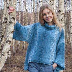 "LANKAVA: Poikittain-pusero. ""Crosswise"" sweater by Pia Heilä for Lankava Oy. Yarn: Alize Angora Gold Simli Batik + Alize Superwash. Photo: Beada Kinnarinen."