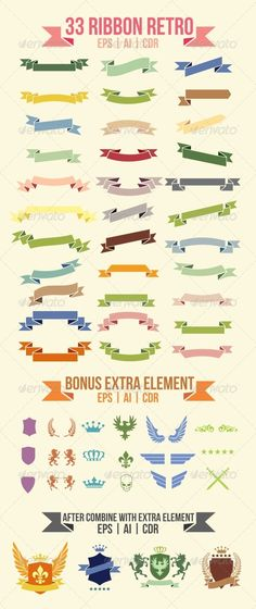 33 Ribbon Retro - Miscellaneous Vectors