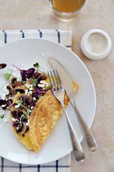 Mushroom, Microgreen & Goat Cheese Omelet | Bay Area Food Photographer