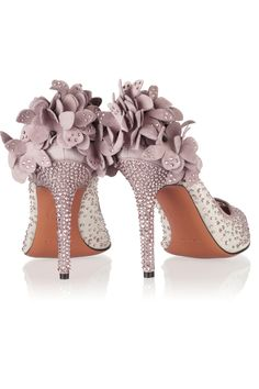 Bruno Magli | Gelmer Swarovski crystal-embellished mesh and suede pumps |
