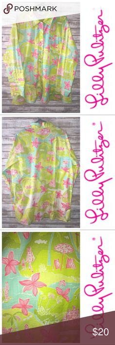 """Lilly Pulitzer Blouse Shirt Large Hawaiian Beach Patterned with a Vacation print featuring a Hawaiian scene, helicopter, picnic, beach, this lightweight cotton shirt features a collar, long sleeves, and button closures.  Condition: Previously Loved  Signs of Love: No signs of previous wear     Size: Large   Measurements:  Total Length: 31""""  Cross Chest: 24""""  Sleeve Length, armpit to the cuff: 19""""  Fabrication: 97% Cotton 3% Spandex Blend Lilly Pulitzer Tops Button Down Shirts"""