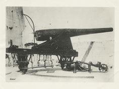 Occupation by U.S. forces. 15CM BLR gun and carriage mounted in eastern exterior battery on El Morro, San Juan 1898