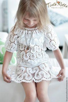 Купить платье для девочки в технике брюгге - белый, однотонный, ажурный узор, изящный, лёгкий шикарное