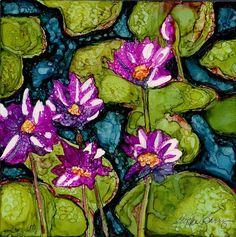 water-lilies-i-jpg by Vicki Baun Barry using alcohol inks on Yupo