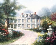 """Homestead House by Thomas Kinkade 1993  """"Homestead House, is the first painting in my Great American Mansions collection. With its stately Doric columns and imposing facade, this is the very essence of the plantation style... truly a grand mansion that would have delighted Scarlett O'Hara and Rhett Butler.""""  — Thomas Kinkade"""