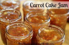 101 - Carrot Cake Jam Recipe I have got to make this carrot cake jam recipe canning.I have got to make this carrot cake jam recipe canning. Canning 101, Home Canning, Canning Recipes, Recipe For Carrot Cake Jam, Carrot Recipes, Jelly Recipes, Jam Recipes, Cooker Recipes, Jam And Jelly
