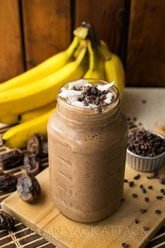 Banana Cacao Recovery Smoothie | Loaded with potassium for hydration and carbohydrates for regeneration, it'll help you out, big time. I should mention that this smoothie is also great for hangovers.