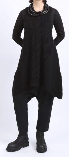 rundholz - Stricktunika Trägerkleid mit Zopfmuster black - Winter 2016