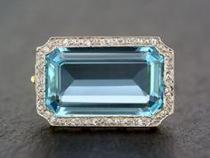 Art-Deco Aquamarin Brosche - Antik Jugendstil Aquamarin & Diamant 18 k Gold und Platin-Brosche