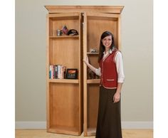 InvisiDoor, Bi-Fold Bookcase Hidden Door, Assembled, Unfinished Cherry, 48 inches -- for desk and door by floor storage room (they sell hardware separately)