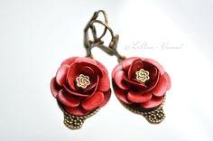 Ohrringe - ❁ Rote Rosen ❁ Ohrringe - ein Designerstück von LiAnn-Versand bei DaWanda