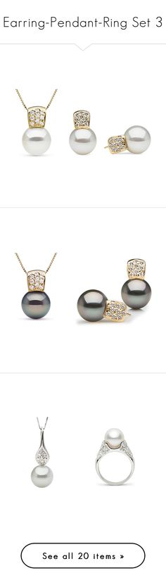 """Earring-Pendant-Ring Set 3"" by pearlparadise ❤ liked on Polyvore featuring pearljewelry, pearlearring and pearlparadise"