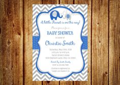 Royal Blue and Gray Elephant Baby Shower Invitation- Digital File- DIY Printable - It's a boy, Elephant, Chevron, Royal Blue by InvitesByChristie on Etsy