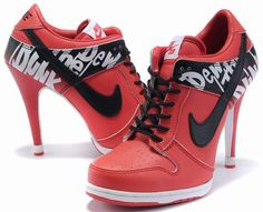 Womens Red and Black Nike High Heels Dunk SB Low