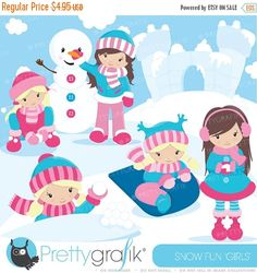 80% OFF SALE Snow girls clipart commercial by Prettygrafikdesign