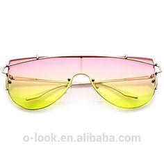 Futuristic Rimless Metal Crossbar Gradient Colored Mono Lens Shield Sunglasses