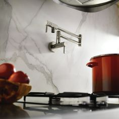 This would so go in my dream kitchen!! Modern Pot Filler Chrome two-handle kitchen faucet - S665