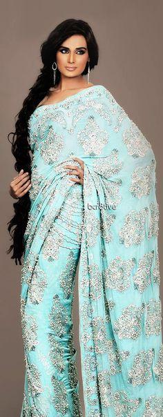 Turquoise Saree Sari. Indian Fashion. Indian Outfit. La Chantal 2012 Fall Bridal Collection