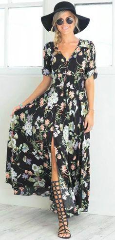 V Neck Short Sleeve High Split Floral Printed Maxi Bohemian Dress