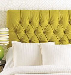 I'm drooling over this chartreuse headboard