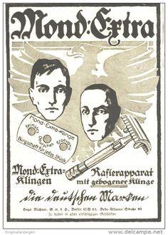Original-Werbung/ Anzeige 1918 - MOND-EXTRA RASIERKLINGEN / RASIERAPPARAT - ca. 90 x 125 mm