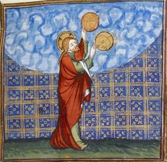 Вот так просто взял и создал... God creating the sun and the moon @GallicaBnF, Fr. 20090, 14th c.