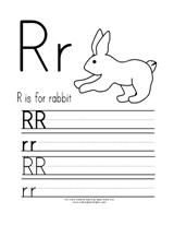 R is for Rabbit  ABC Printing Practice Page from Making Learning Fun.