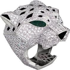Panthère de Cartier ring White gold, emeralds, onyx, diamonds