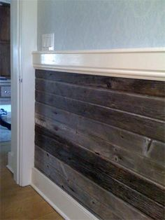 horizontal barn wood wainscoting... always wanted to do this !