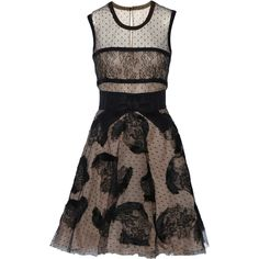 Valentino Lace-paneled tulle mini dress (13.270 NOK) ❤ liked on Polyvore featuring dresses, black, tulle mini dress, bow dress, tulle cocktail dress, lace inset dress and key hole dress