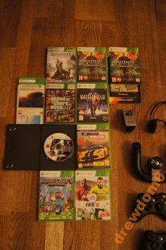 Xbox 360 250GB. 2 pady, kierownica   gry!