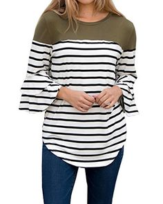 afe7640edd FISACE Womens 3 4 Ruffle Sleeve Striped Curved Hem Crewneck Tunic Tops  Blouse Plus Size