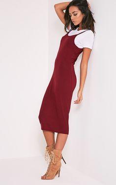 2 Pack Basic Burgundy T Shirt and Midi Dress